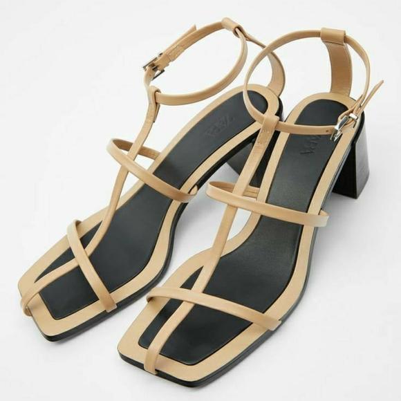 Zara t-strap leather heeled sandals